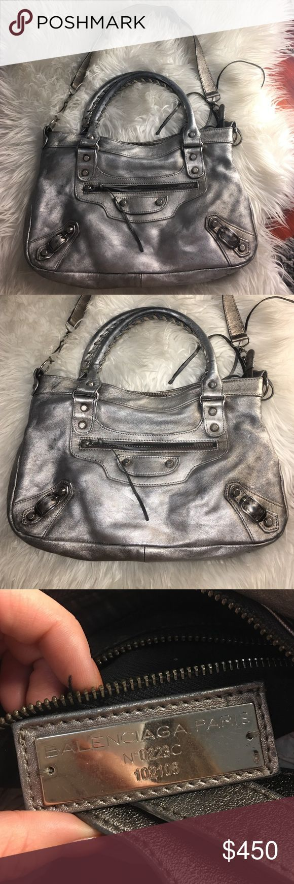 BALENCIAGA METALLIC SILVER BAG Balenciaga City Aluminum Metallic Silver Shoulder Bag. Not exactly sure which style it is. May be moto cross or city? Will email more photos. MISSING MIRROR. Balenciaga Bags