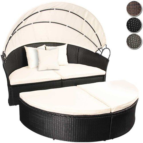 miadomodo rattan sun lounger 180 cm choice of colours height adjustable garden furniture