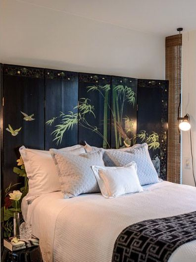 antique furniture decorating ideas. p antique chinese coromandel screen used as a headboard patricia gray furniture decorating ideas r