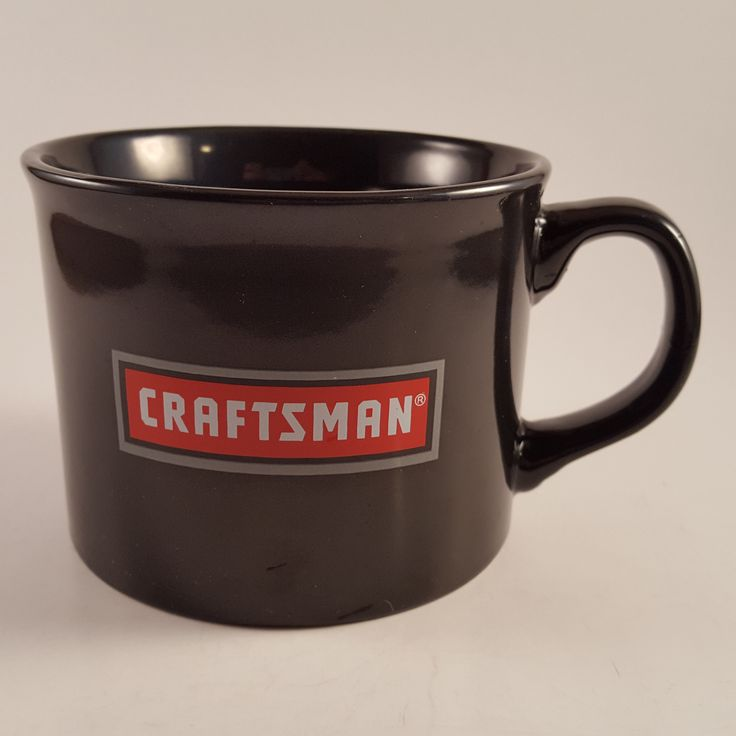 Craftsman Tools Black Large Ceramic Mugs Coffee Chili Soup Cup 16 Ounces