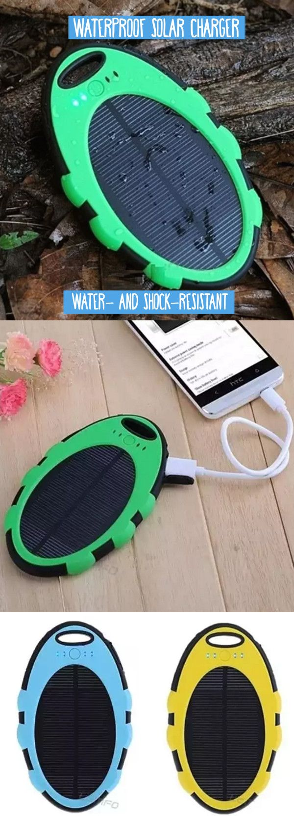 Want!! | Go Green with this solar charger! At last, a solar charger for the real world. It's water and shock resistant, and includes a hook to attach to your keychain, backpack or purse. With a USB port for easy charging, it's perfect for the outdoor enthusiast who wants to take on rainy autumn days, snowy winter months, or just relax poolside in the summer. Featuring a football grain design, the charger also has an anti skid padding to withstand shock.