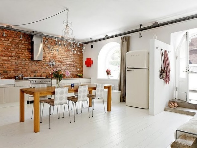 oh white floors, brick wall and smeg fridge