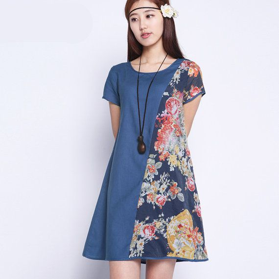 KaCa Thin Soft Flower Matching Loose Linen Dress Day от KACADRESS