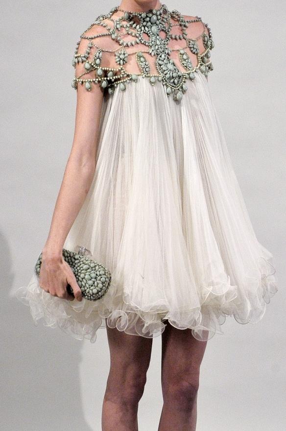 sheer beaded white dress, ethereal