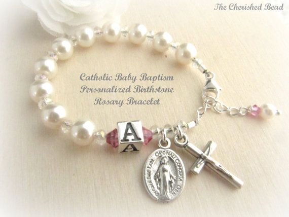Personalized Birthstone Catholic Baby Baptism Bracelet with Initial Bead and Birthstone of your Choice