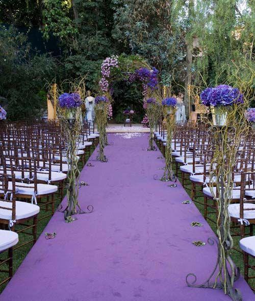 Outdoor Wedding Ceremony Ideas: Purple Flower For Garden Wedding Ceremonial