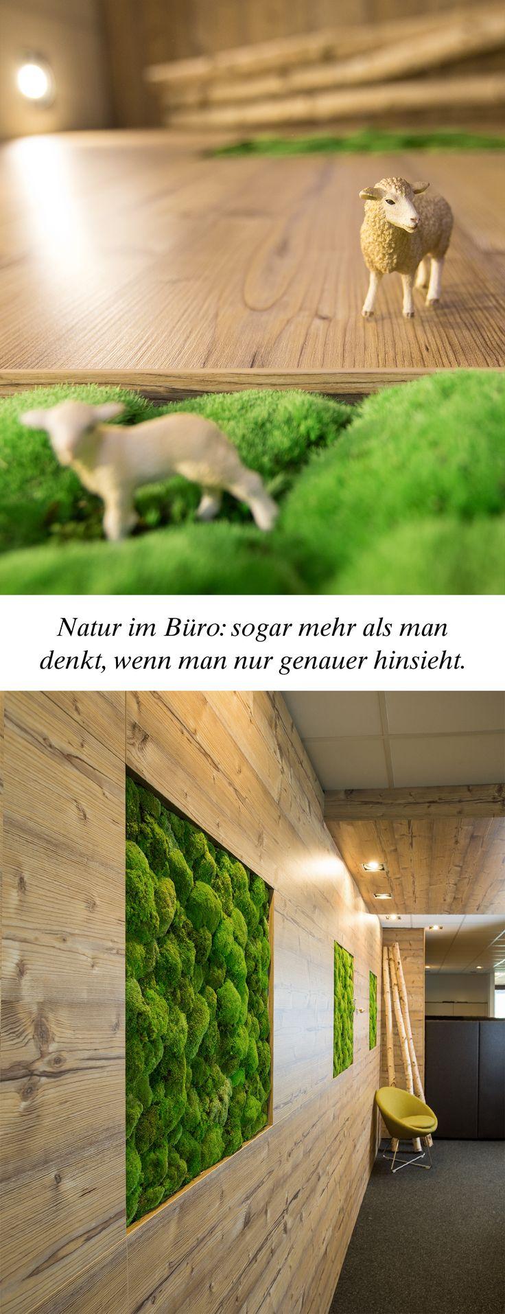 Pflanzen im Büro: Moosbilder an der Wand vermitteln Natürlichkeit. Manchmal ve…