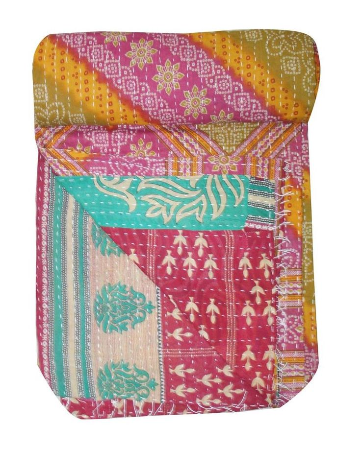 Vintage Twin Multi Color Patchwork Kantha Quilt Reversible Bedspread Throw USA #Unbranded #ArtDecoStyle