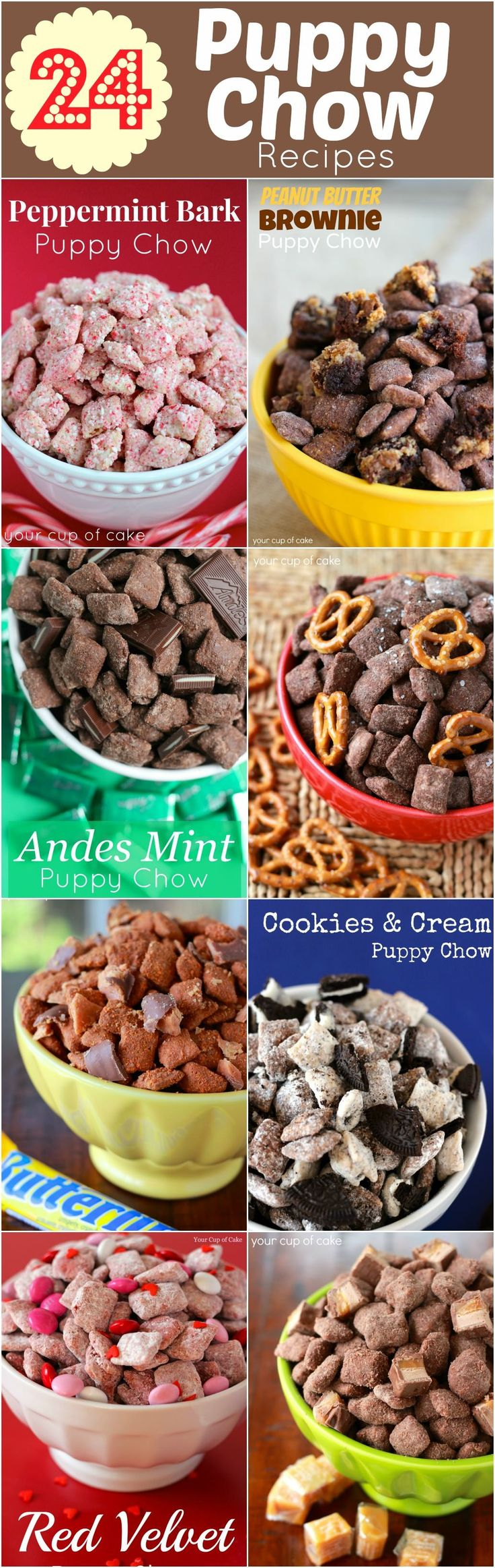 24 puppy chow recipes, I'm sure I've pinned this before but it's too tempting not to re-pin. So many choices!