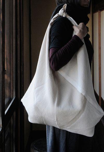 Linen shoulder sack by Miyako Tsuchiya, Japan