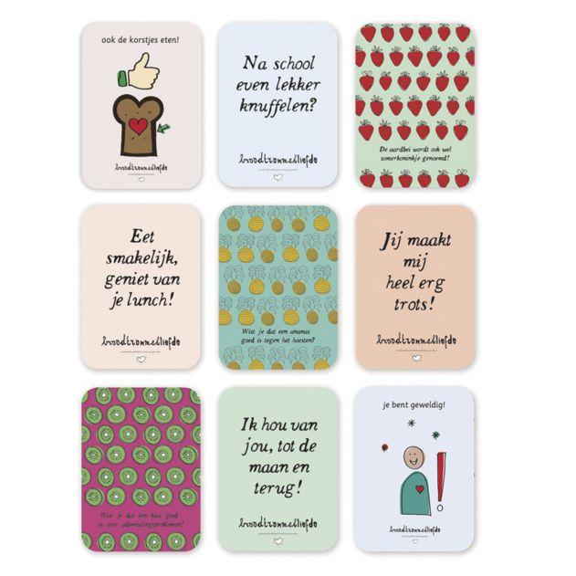 Broodtrommelliefde kaartjes met pictogrammen om je kind te verrassen of een hart onder de riem te steken. Op werkdagen voor 21.00 uur besteld, de volgende dag in huis.