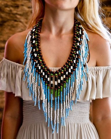 Native American Necklace - White & Turquoise - $34