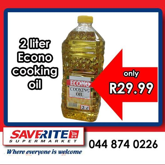 Huge savings on essential products at Saverite Supermarket York Street this week only. 2l Econo Cooking oil marked at an unbeatable price of only R29.99 per bottle. Come to our store at 12 York street today for these and many more great savings.