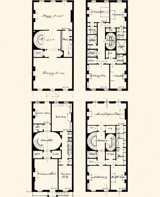 Federal style row house floor plans thefloors co for Victorian townhouse plans
