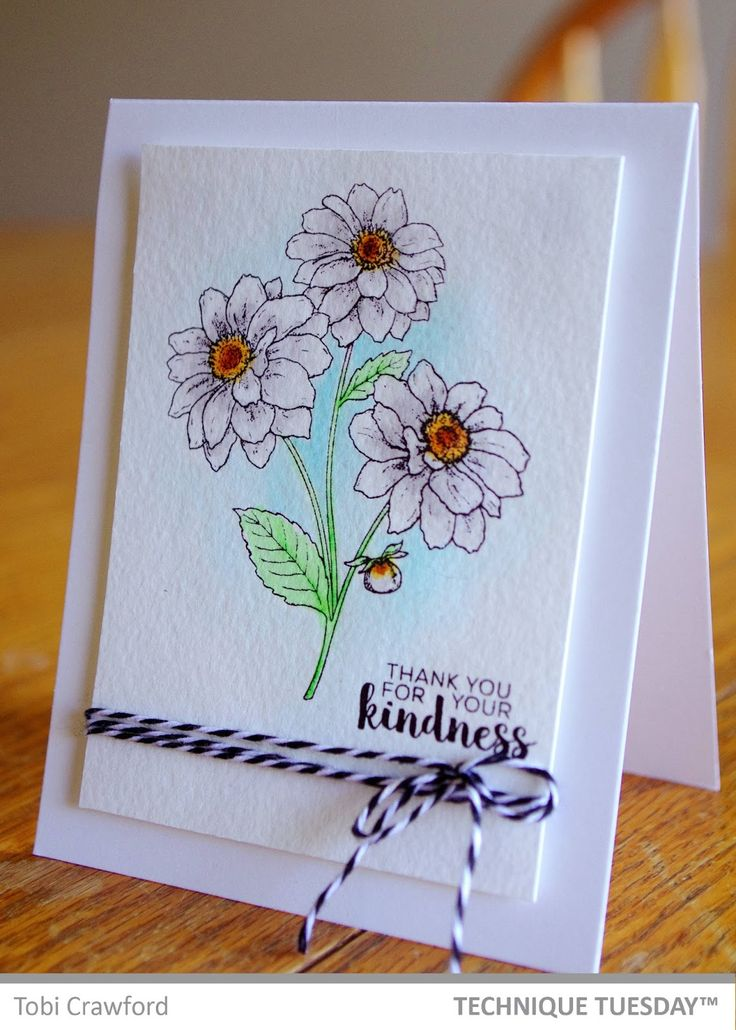 A gorgeous handmade thank you card created by Tobi Crawford with clear stamps from Technique Tuesday. // TechniqueTuesday.com