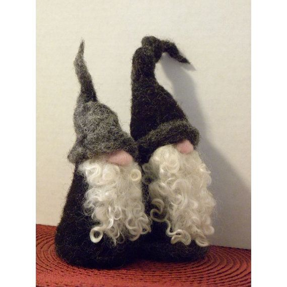 Best Buddy Gnomes Needle Felt Soft Sculpture For by all4fiberarts
