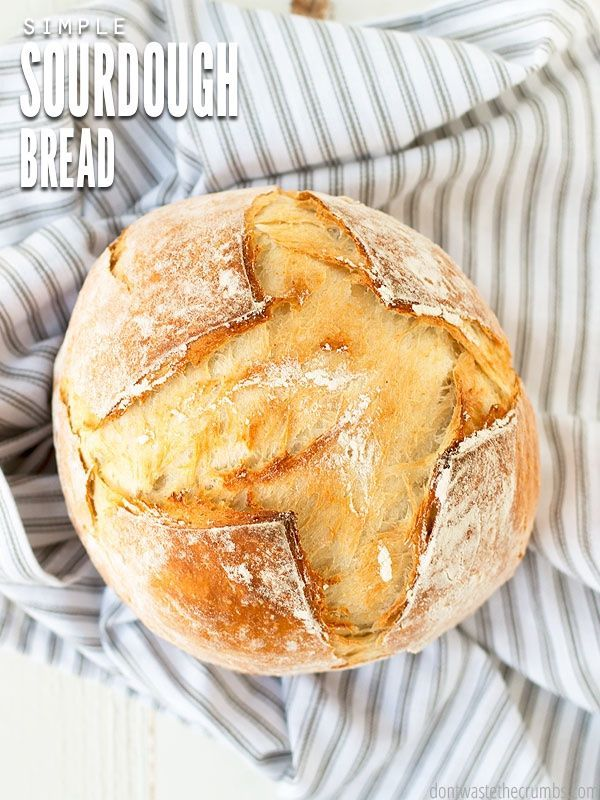 Simple Sourdough Bread Recipe. A very simple and basic recipe for beginner sourdough bakers - easy instructions and just one rise. :: dontwastethecrumbs.com