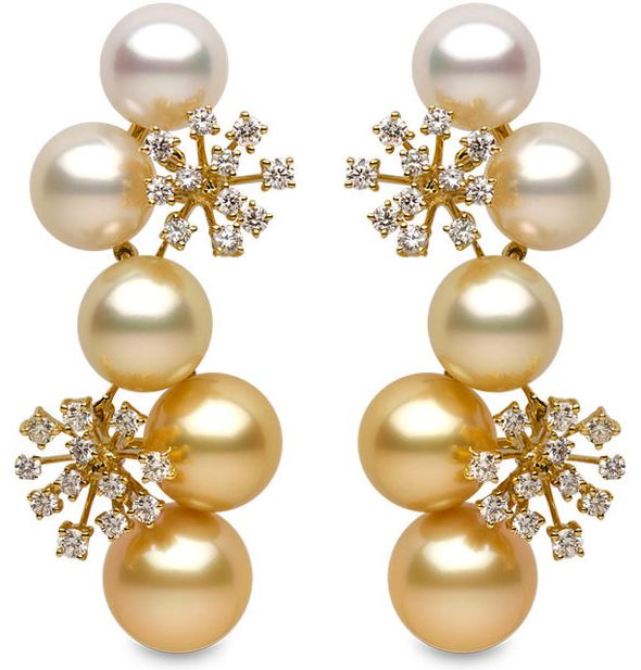 Yoko London - Girandola Collection - 18k yellow gold earrings with 2.18cts. of diamonds & white & golden south sea pearls 10 - 12 mm.