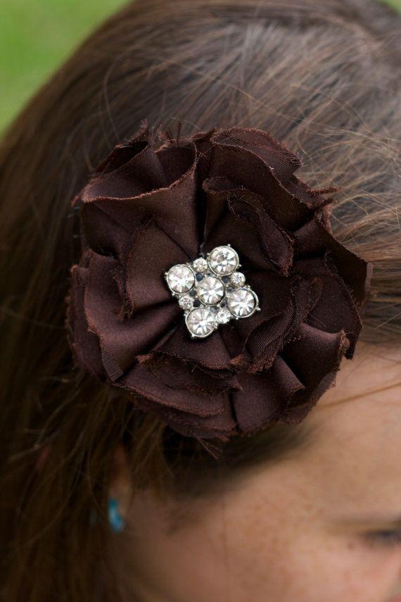 chocolate brown fabric flower vintage brooch by sunshowerflowers on etsy #etsy #fabric flower #weddinghair #wedding #weddingdecor #upcycled #vintage #shabbychic #flowergirl #flower