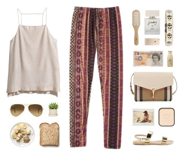 Aztec pants by ffashioninspire on Polyvore featuring H&M, Ancient Greek Sandals, Burberry, Alexander McQueen, Ray-Ban, Clé de Peau Beauté, Bella Freud, Philip Kingsley and Toast