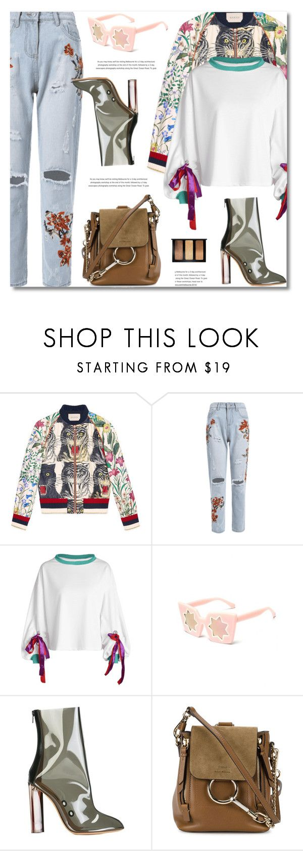 """""""Street Style"""" by defivirda ❤ liked on Polyvore featuring Gucci, Yeezy by Kanye West, Chloé, Bobbi Brown Cosmetics, StreetStyle, streetfashion, polyvoreeditorial and StreetChic"""