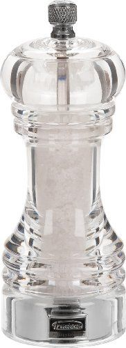 Trudeau Professional Acrylic Salt Mill, 6-Inch by Trudeau. $17.18. Sea salt is visible through acrylic mill. 6-inch salt mill for professional or home use. Specially designed stainless steel mechanism crushes large or small sea salt crystals. Lifetime warranty. All materials meet professional food industry standards. Trudeau's line of professional pepper and salt mills takes grinding to the next level with the most efficient grinding mechanisms in the world. Wit...