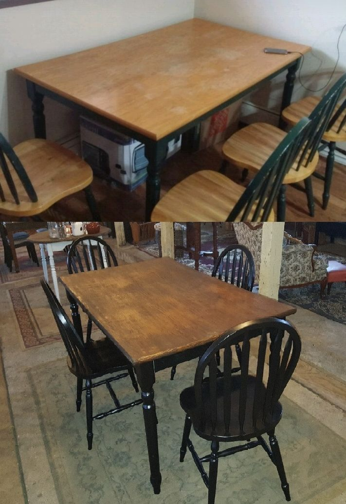 Kitchen Table Set Refinished This Simple Set Was Dated And Banged