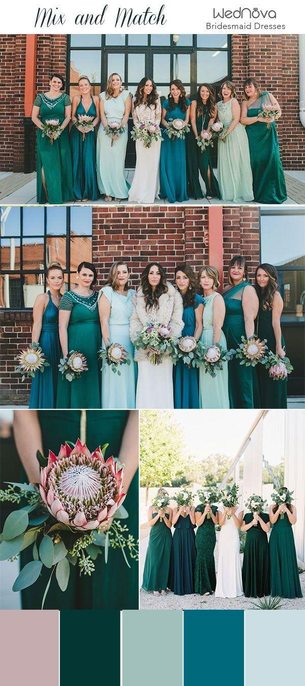 14 Mismatched Bridesmaid Dresses Color Palettes From Real Weddings Mint Bridesmaid Dresses Bridesmaid Dresses Different Colors Mismatched Green Bridesmaid Dresses