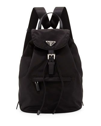 Vela Medium Backpack, Black (Nero) by Prada at Bergdorf Goodman.