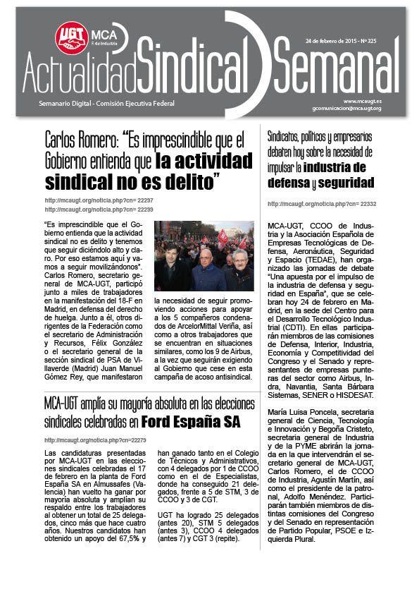 Ha salido Actualidad Sindical Semanal 325 http://mcaugt.org/noticia.php?cn=22333