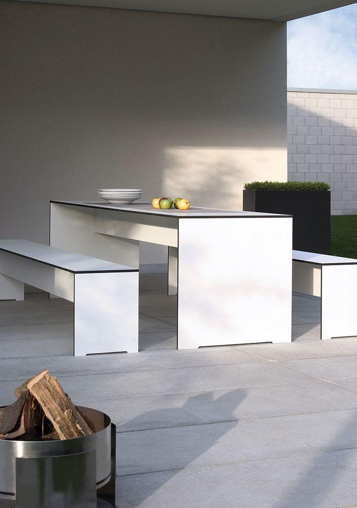 conmoto RIVA Set - Tisch & Bank weiß | eBay