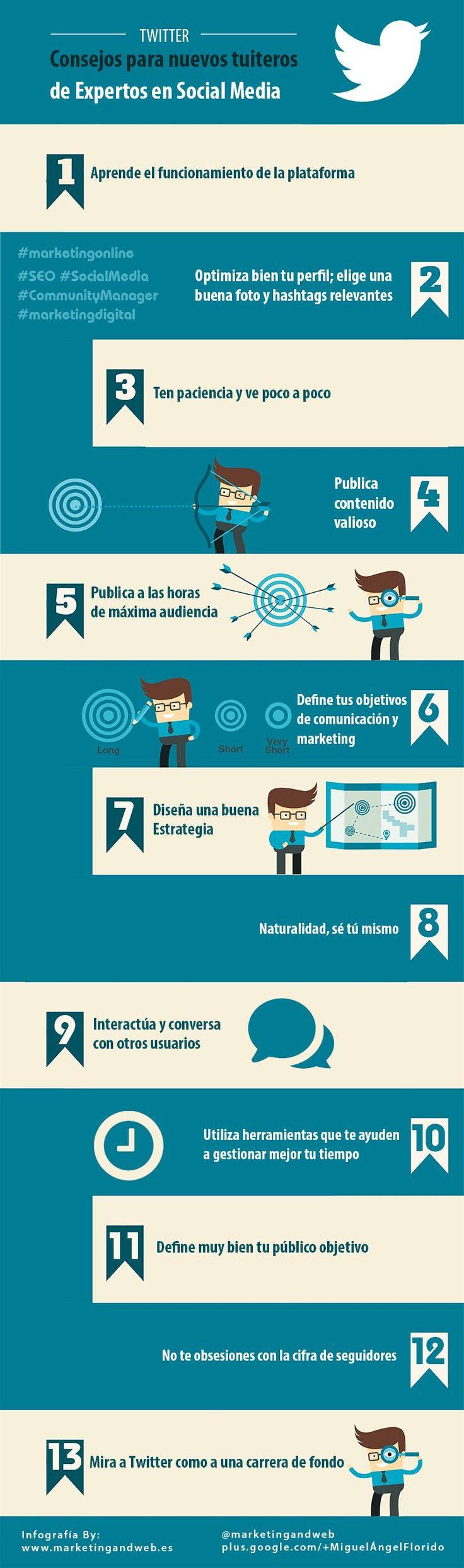 Una buena infografía en español donde expertos en Social Media nos ofrecen 13 consejos para sacar más provecho a la red social Twitter.
