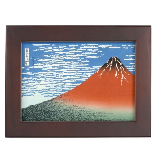 Red Fuji southern wind clear morning Hokusai art Memory Box