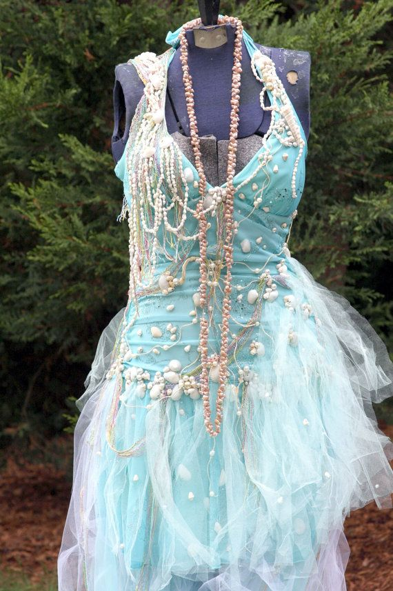 Tattered Ocean Seafoam Mermaid Fairy dress, Beach Wedding, Gown, Bride, Bridal, Renaissance, Costume, Burning Man, Formal, Theater,