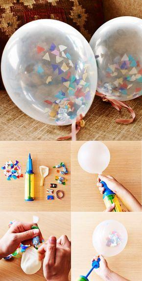[DIY]ゲストをお見送りする際に手渡すプチギフトのラッピングを一工夫。キャンディーなど小さなお菓子とカラフルな紙吹雪を入れた「バルーンギフト」。遊び心に、子どもはもちろん大人ゲストも思わずにっこり!