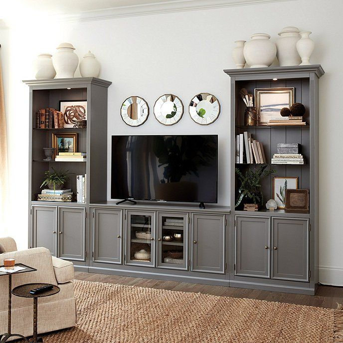 Tuscan Wide Media Console Family Room Design Living Room