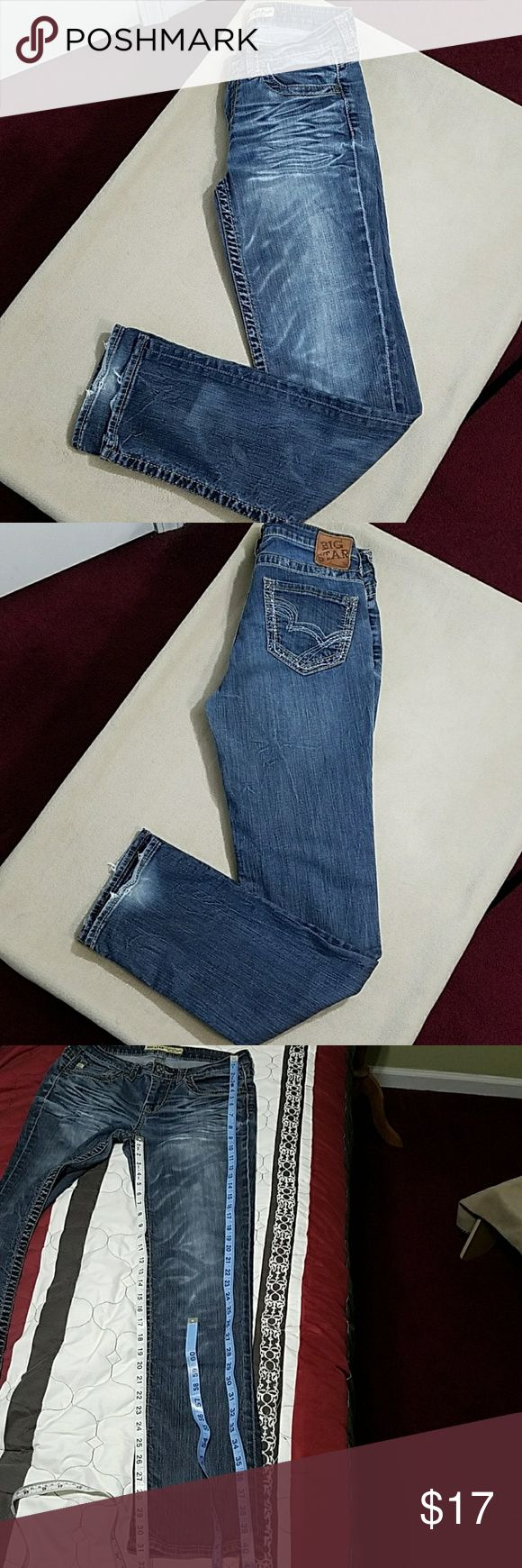 Big Star Kayla Straight mid rise fit jeans Big Star Kayla Straight mid rise fit jeans.  In good condition except at hem as shown in pictures.  Length is about 40 inches.  Inseam is about 31 inches.  Waist is about 28 inches. Big Star Jeans