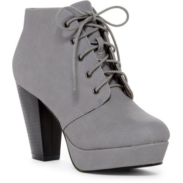 ANNA Footwear Goldie Platform Bootie (39 CAD) ❤ liked on Polyvore featuring shoes, boots, ankle booties, heels, grey, stacked heel booties, lace up platform booties, heeled ankle boots, platform ankle boots and gray booties