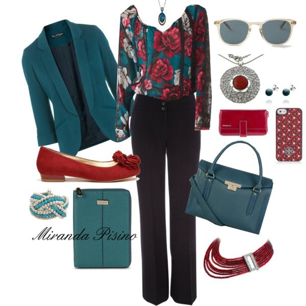 """Teal and Red work outfit"" by miradawnp on Polyvore"