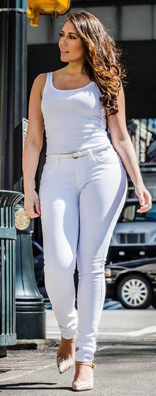 white curvy jeans | !! Women Fashion Wear !! | Pinterest | Pzi ...