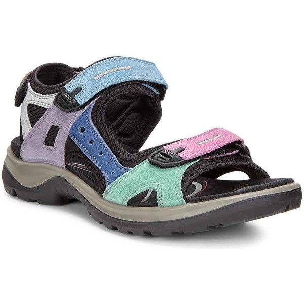 ECCO Women's Offroad Multicolor Pastel Suede Sandals ($130) ❤ liked on Polyvore featuring shoes, sandals, suede shoes, stretch shoes, multi colored sandals, fleece-lined shoes and stretch sandals