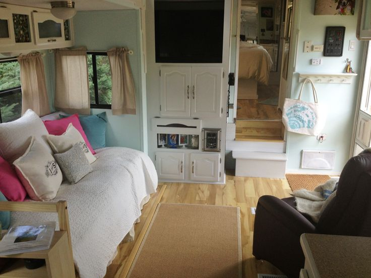 DIY RV Decorating New Day Bed And Kitchen Storage