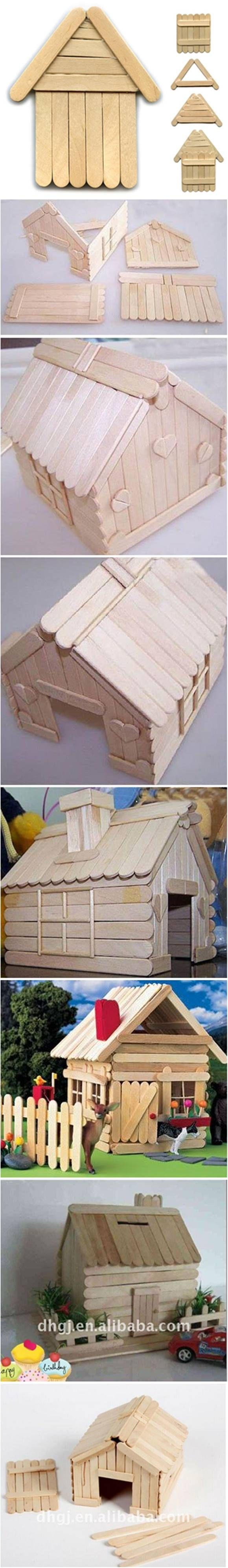 How to DIY Popsicle Stick House #craft