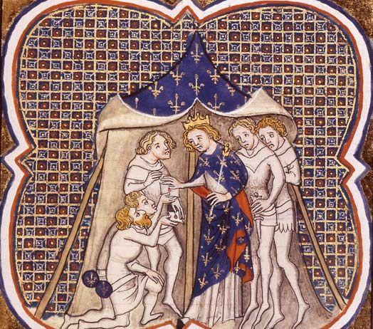 BnF - Charles le Gros (839-888) -- 10) CHARLES III le Gros: 2.Destin impérial d'un prince carolingien et déchéance: Après une victoire décisive sur les héritiers de Louis le Bègue, Louis obtient l'intégralité de la Lotharingie et Charles obtint en récompense des droits sur des terres vosgiennes aux confins de l'Alsace et une partie de la dignité régalienne en Lotharingie.