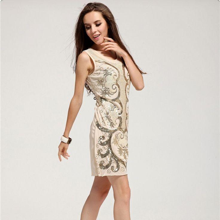 Roupas Feminina Online nas lojas Calitta. Vestido Casual Bege Floral em Paête Curto Fino Moda Primavera Regata. Compre Vestidos na Internet Barato online na Calitta.