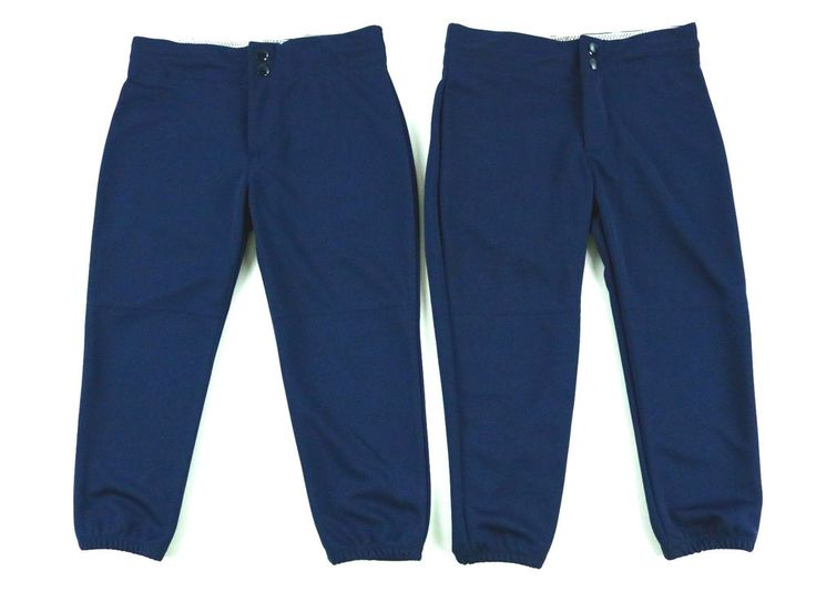 Alleson Athletic Youth Girl Baseball Pants Blue Double Snaps Button Size M Lot 2 #AllesonAthletic