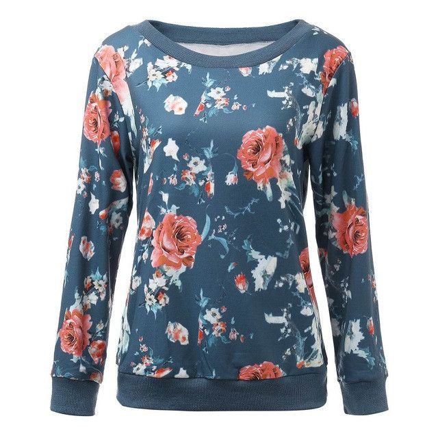 Floral Print Blue Women Hoodies Sweatshirts 2016 Spring Autumn O-neck Long Sleeve Casual Harajuku Pullover Plus Size Tracksuits