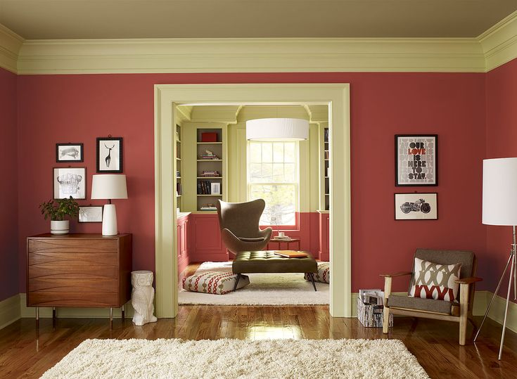 crisp coral living room - red parrot 1308 (walls), guilford green HC-