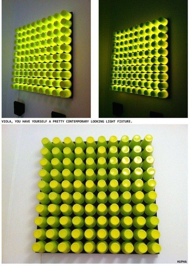 Make 3D glowing wall art. | 33 Genius Ways To Reuse Your K-Cups