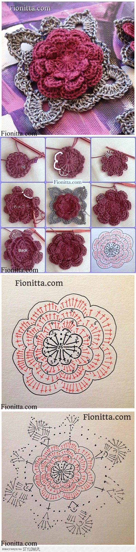 DIY 3D Crochet Rose in 3 Ways | www.FabArtDIY.com na Stylowi.pl